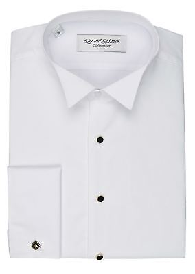 David Latimer Mens Marcella Front Wing Collar Dress Shirt in White