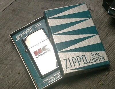 1968 Zippo lighter Holo Krome slim high polish chrome in green silver rare box