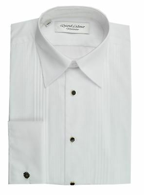 David Latimer Mens Pleated Front Dress Shirt With Standard Collar in White