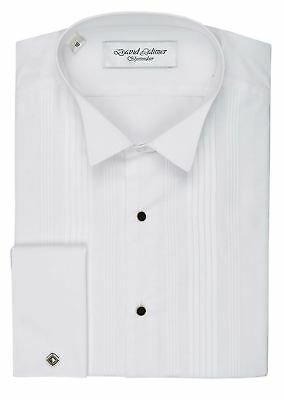 David Latimer Mens Pleated Front Dress Shirt With Wing Collar in White