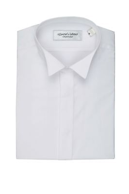 David Latimer Mens Fly Front Wing Collar Dress Shirt in White