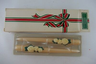 Vintage Set of 2 Winter Rose Bayberry Fragranced Taper Candles, New in Box