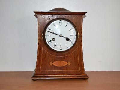 Arts & Crafts Oak inlaid Mantle Clock working C 1905 Liberty & Co ? PHS movement