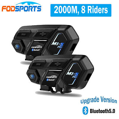 M1-S Pro Motorcycle Intercom Headset Bluetooth Interphone Helmet FM Fodsports AU