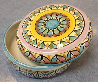 Vietri pottery-jewelery/candy Box-made/painted By Hand in Italy