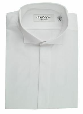 David Latimer Mens Fly Front Swept Wing Collar Dress Shirt in White