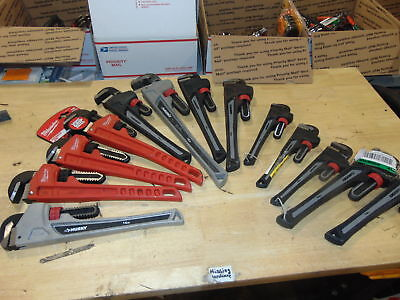 (CH137) 39Lbs of Pipe Wrench mixed sizes, adjustable, Husky, Milwaukee, 14in