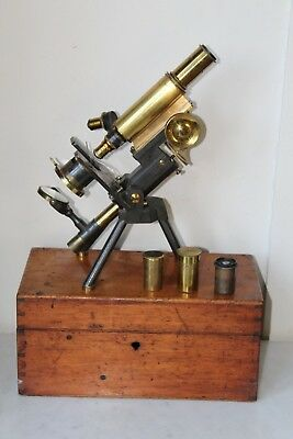 Very Fine Antique Cased Brass Monocular Folding Microscope By J Swift & Son