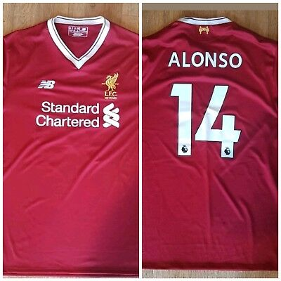 "Unique authentic New Balance RED Liverpool 17/18 Home Shirt top XL ""14 ALONSO"""