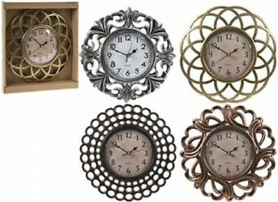 Vintage Retro metallic Small Round  Wall Clock 25 CM Sliver Gold Bronze Home