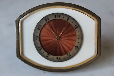 Unusual Art Deco Swiss 8 Day Travel Strut Clock Working