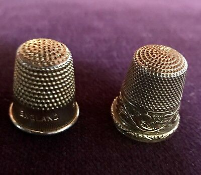 2 Antique 14 Kt  An 9 Kt Gold Engraved Band Thimbles * American * Circa 1880