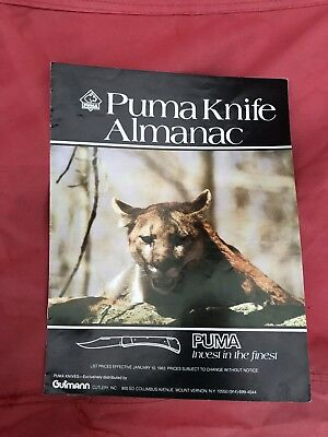 1982 PUMA KNIFE ALMANAC by Gutmann, Guide to collecting Puma Knives Chart Glossy