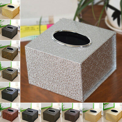 Retro Stylish Tissue Box Square Faux Leather Home Tissue Holder High Quality