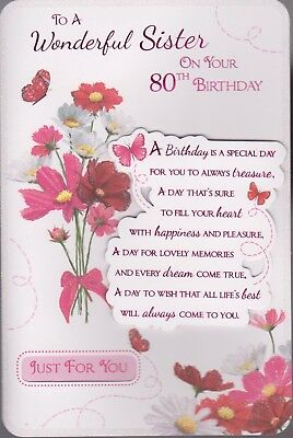 Sister 80th Birthday Card To A Wonderful On Your