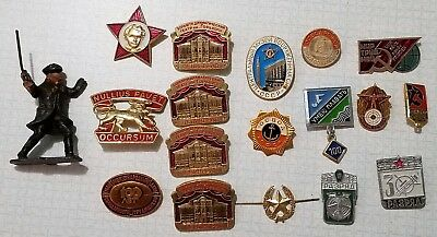 Lot Of 17 Vintage Russian & U.S. Military Pins USSR CCCP USA Free S&H