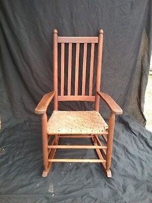 Antique Wooden Oak Straight Back Rocking Chair Original Weaved Oak StripSeat