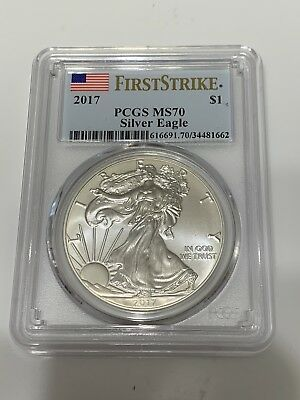 2017 $1 American 1oz Silver Eagle PCGS MS70 First Strike Coin In Pic Ships