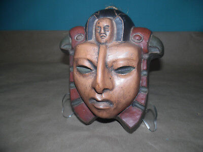 Mapuche signed Chile Clay Pottery Indian mask ceramic folk art bird Chilean
