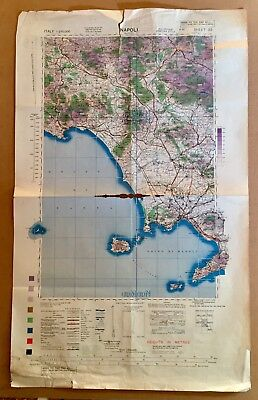 Mappa Napoli 1944, map Naples Us Army/Air Italy 2ww 2gm H.Q., M1 Relic, Fox Hole