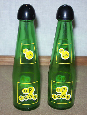 Vintage-UP-TOWN-Soda Memorabilia-Kitchen Glass Salt/Pepper Shaker Figural Bottle