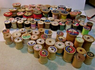 Lot of Vintage Wooden Spool Thread:  50 with thread plus 30 empty: total of 80