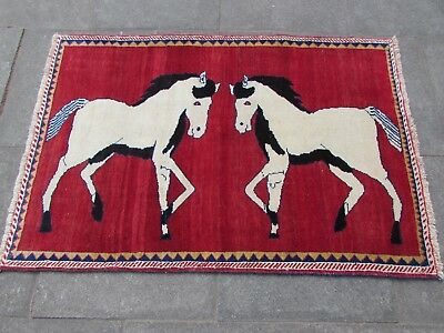 Old Traditional Hand Made Persian Oriental Gabbeh Wool Red Rug 149x100cm Animal