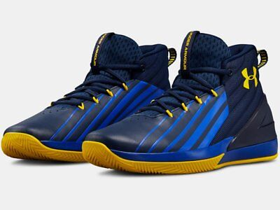 2018 Under Armour Mens UA Lockdown 3 Basketball Blue/Gold Curry Color Shoes