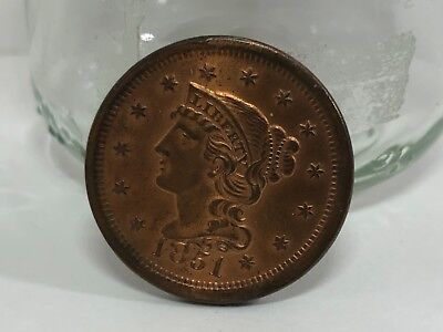 1851 braider hair large cent uncirculated