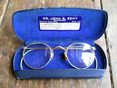 VTG. B&L FUL-VUE 1/10 12kt GF Full Rim Glasses Etched Spectacles & Case Bi-Focal