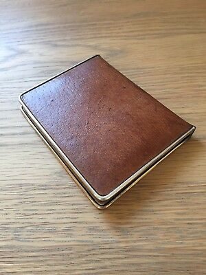 Vintage Art Deco Leather & Sterling Silver Trim Asprey Cigarette Case
