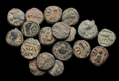 Lot of 19 nice uncleaned sand patina Byzantine, all scarcer Tyche Pentanummium