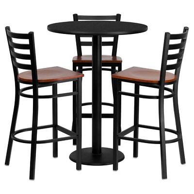 Flash Furniture 30 in. Round Black Laminate Bar Height Table Set with 3 Wood