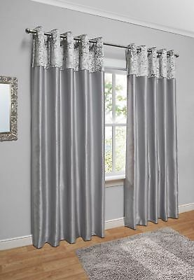 "Crushed Velvet Faux Silk Eyelet Curtains / Silver-Grey / 66""x90"" / REFURBISHED"