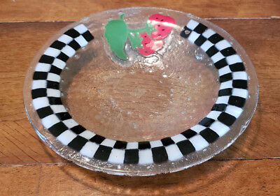 "PEGGY KARR Fused Art Glass - STRAWBERRY CHECKERBOARD Pattern - 11"" ROUND BOWL"