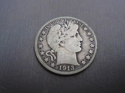 1913-S BARBER Half Dollar - US 50 cents silver coin #Z1