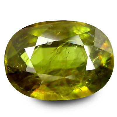 1.900Cts TREMENDOUS TOP LUSTER YELLOWISH GREEN NATURAL SPHENE OVAL CUT GEMSTONES