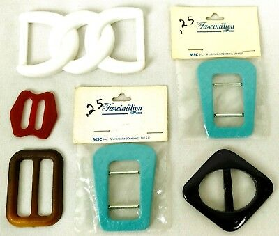 Vintage Lot of 6 Dress Belt Buckles Leatherette Plastic Purple Teal White Retro