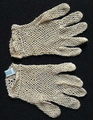 "Fancy Ornate Detailing Crocheted LACE GLOVES Miss M 7.5"" long French Pattern"
