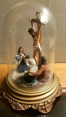 """The Crucifixion"" Franklin Mint  Numbered 1992 RARE Figures Under Glass Dome"