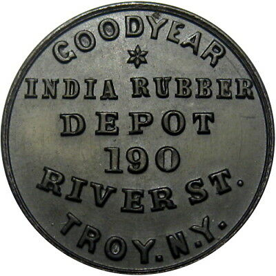 Troy New York Hard Rubber Civil War Token Goodyear India Rubber Depot