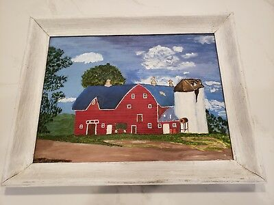 VTG Original Framed 15 x 19 Folk Art Farm Barn Landscape Oil Painting Farmhouse