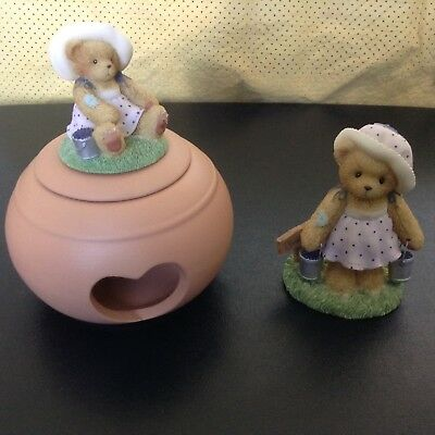 "Retired Cherished Teddies Club 2003 ""LEAH"" & Votive Candle Holder w/ Leah top"