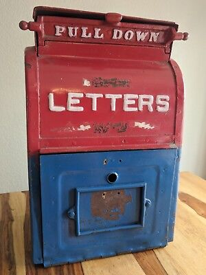Antique Cast Iron U.S Mailbox Letter Box Bank Metal Heavy Red White Blue 1909
