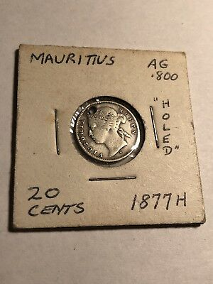 Mauritius 1877-H Silver 20 Cents Queen Victoria . Has Hole