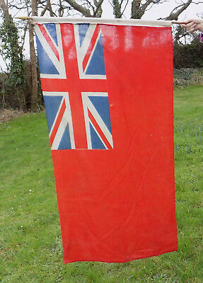"""VINTAGE RED ENSIGN FLAG WITH POLE - 51"""" x 28"""" (1.3m x 0.7m)"""