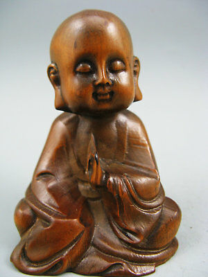 Antique Collectible Old Boxwood Handwork Monk Netsuke Rare Statue