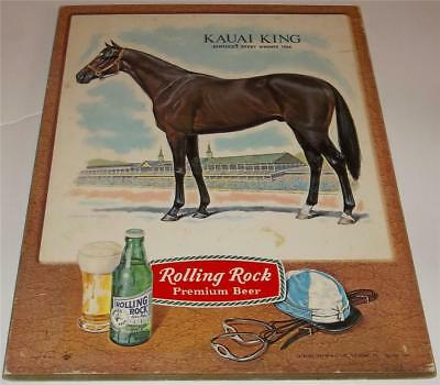 Vintage Rolling Rock Beer Kentucky Derby Horse Sign   Kauai King 1966 Winner