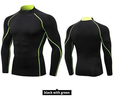 Mens Boys Long Sleeve Base Layer Sports Shirt Body Armour Thermal Top Tees