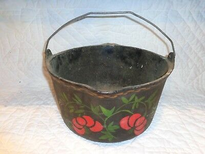 Antique or Vintage Cast Iron Pennsylvania Dutch Painted Design Cauldron Kettle